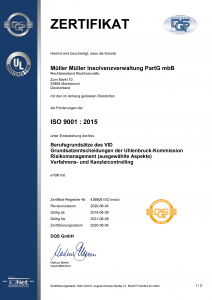 MM Inso Zertifikat Qualitätsmanagement 2018 • Kanzlei MEW