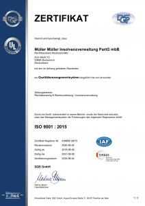 MM Inso Zertifikat Qualitätsmanagement • Kanzlei MEW